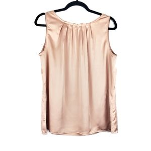 LOFT | Champagne Gold Silky Satin Pleated Top LP